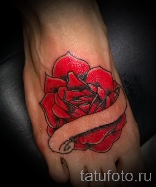 тату на ноге розы - фото вариант от 15122015 № 32