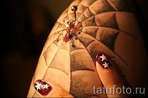 тату паутина на плече - фото готовой татуировки - 20122015 № 7