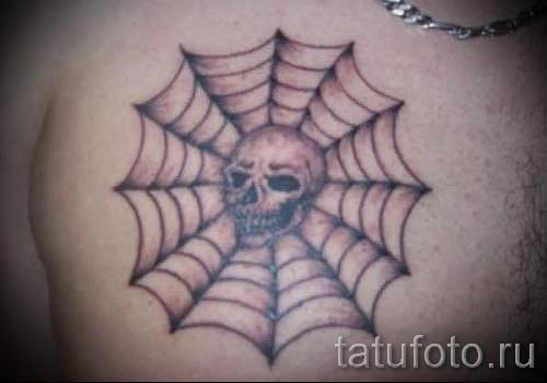 тату паутины на груди - фото готовой татуировки - 20122015 № 4