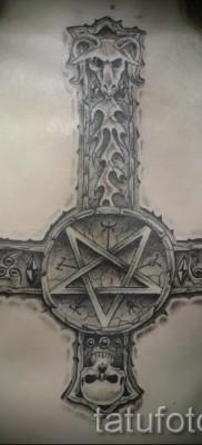 тату перевернутый крест – пример на фото от 08122015 № 11