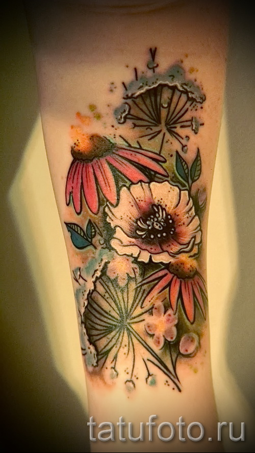 тату полевые цветы - фото вариант от 21122015 № 1