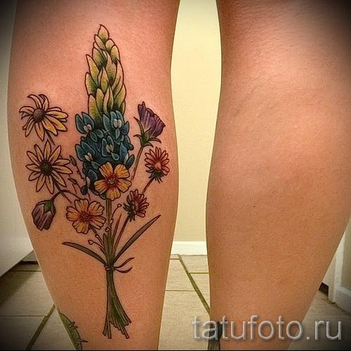 тату полевые цветы - фото вариант от 21122015 № 5