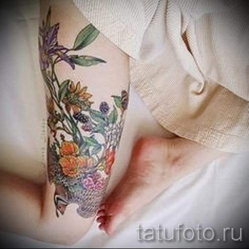 тату полевые цветы - фото вариант от 21122015 № 8
