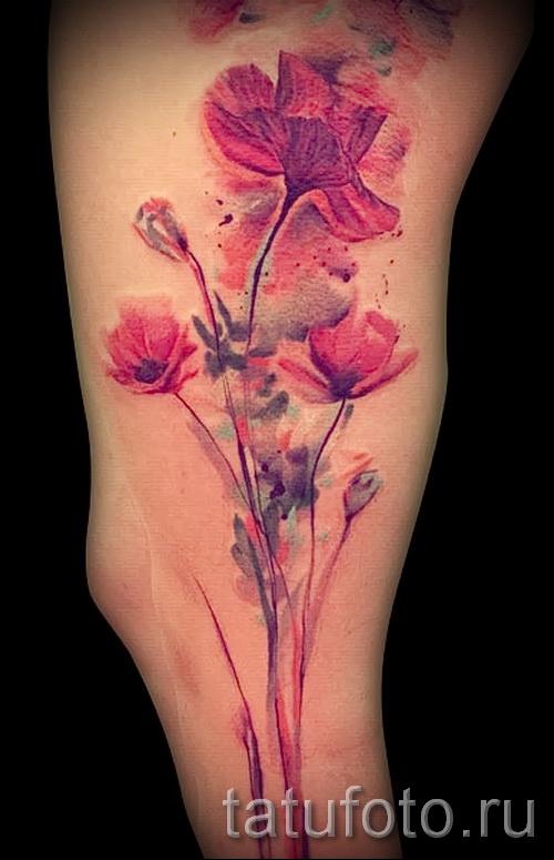тату реализм цветы - фото вариант от 21122015 № 10