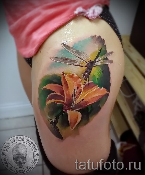 тату реализм цветы - фото вариант от 21122015 № 3