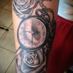 тату роза и часы - фото вариант от 15122015 № 1
