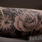 тату роза и часы - фото вариант от 15122015 № 11