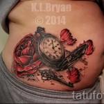 тату роза и часы - фото вариант от 15122015 № 14