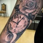 тату роза и часы - фото вариант от 15122015 № 16