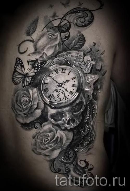 тату роза и часы - фото вариант от 15122015 № 2