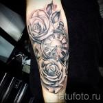 тату роза и часы - фото вариант от 15122015 № 3