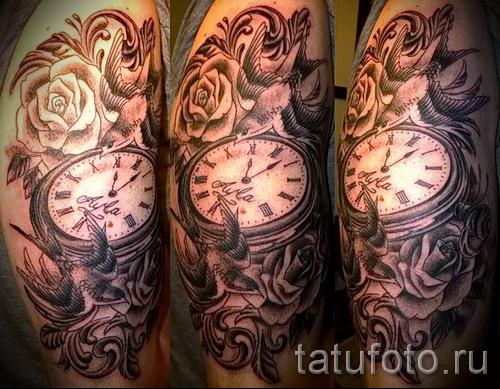 тату роза и часы - фото вариант от 15122015 № 4