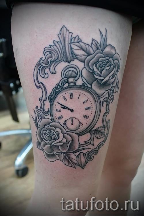 тату роза и часы - фото вариант от 15122015 № 5