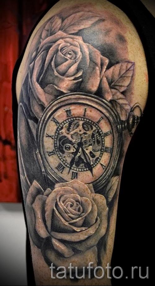 тату роза и часы - фото вариант от 15122015 № 6