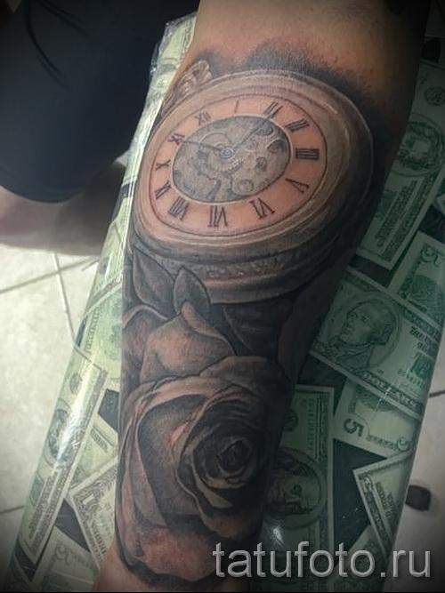 тату роза и часы - фото вариант от 15122015 № 7