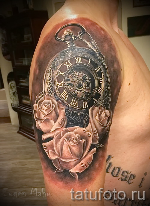 тату роза и часы - фото вариант от 15122015 № 8