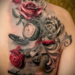 тату роза и часы - фото вариант от 15122015 № 9