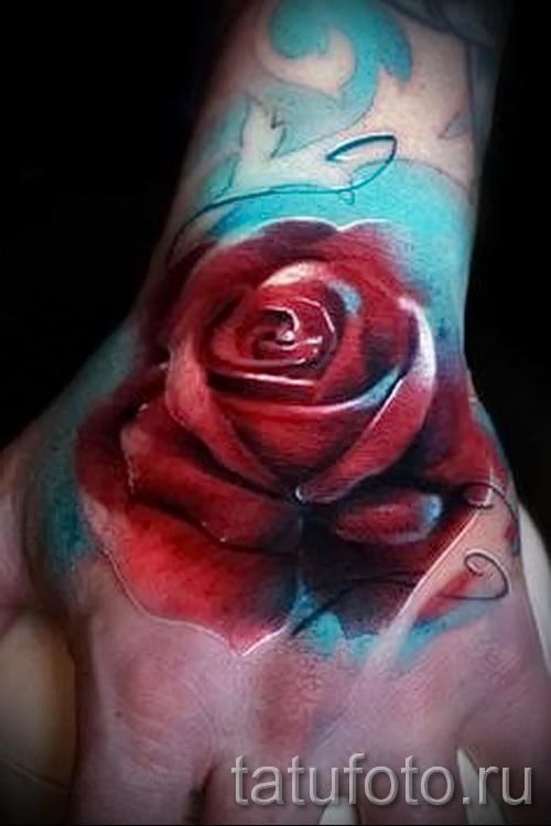 тату роза на кисти - фото вариант от 15122015 № 23