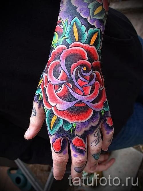 тату роза на кисти - фото вариант от 15122015 № 4