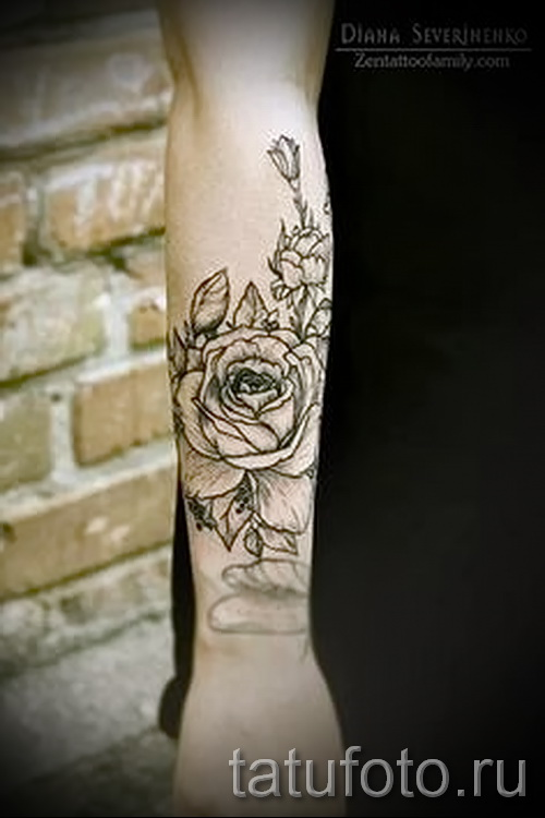 тату роза на руке у мужчин - фото вариант от 15122015 № 3