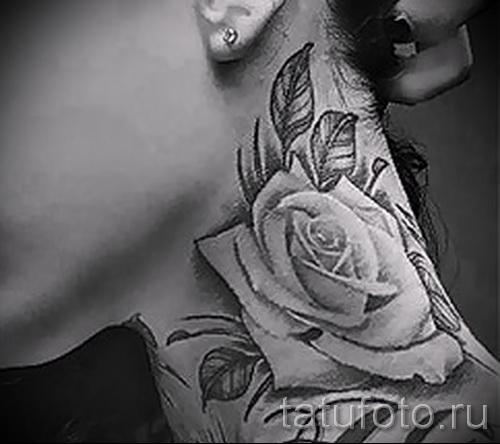 тату роза на шее - фото вариант от 15122015 № 10