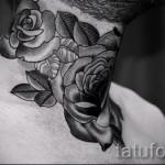 тату роза на шее - фото вариант от 15122015 № 14