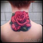 тату роза на шее - фото вариант от 15122015 № 18