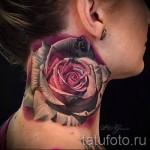 тату роза на шее - фото вариант от 15122015 № 2