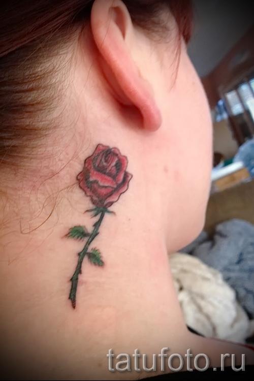 тату роза на шее - фото вариант от 15122015 № 23