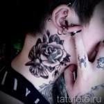 тату роза на шее - фото вариант от 15122015 № 30