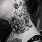тату роза на шее - фото вариант от 15122015 № 5