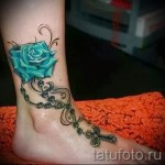 тату роза на щиколотке - пример на фото 3