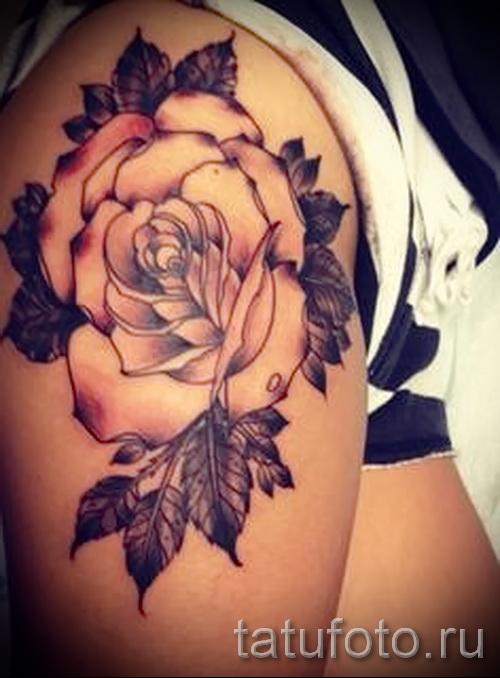 тату розы на бедре - фото вариант от 15122015 № 14
