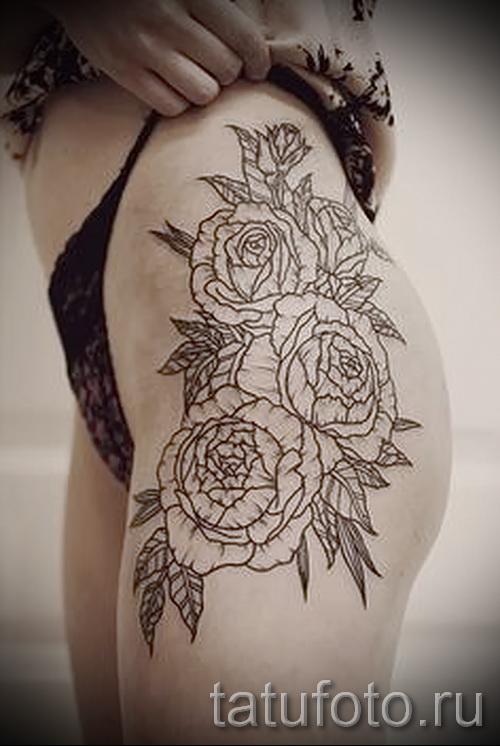 тату розы на бедре - фото вариант от 15122015 № 15