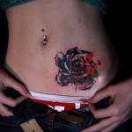 тату розы на животе - фото вариант от 15122015 № 14