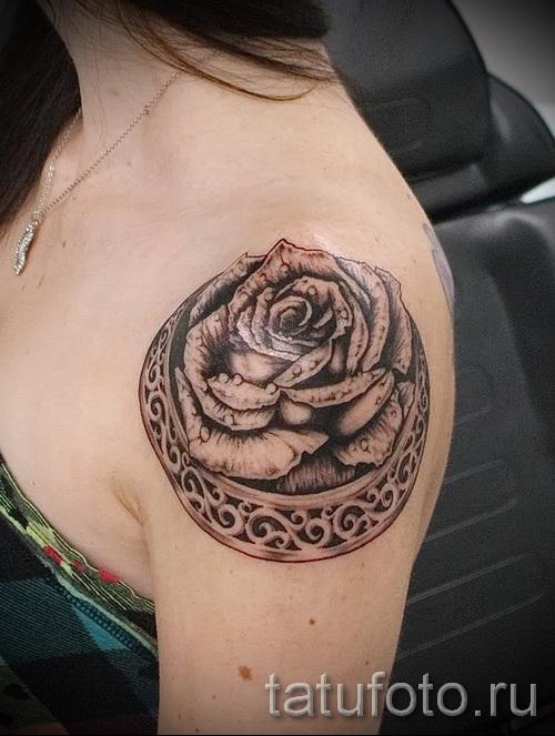 тату розы на плече - фото вариант от 15122015 № 5