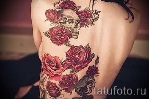 тату розы на спине - фото вариант от 15122015 № 1