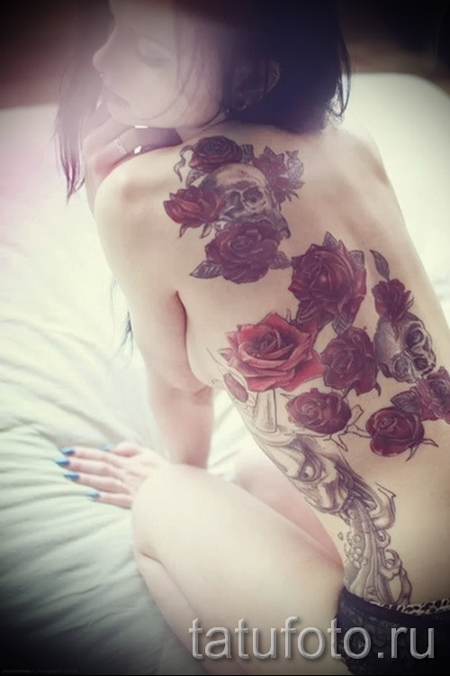 тату розы на спине - фото вариант от 15122015 № 8