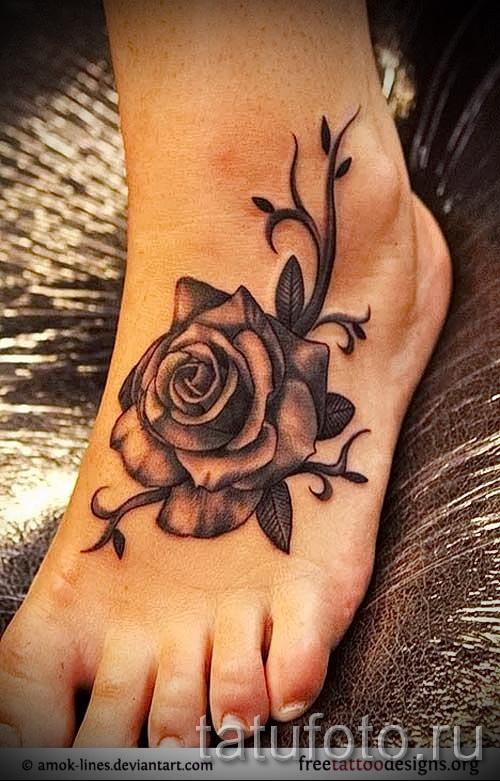 тату розы черно белые - фото вариант от 15122015 № 10