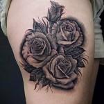 тату розы черно белые - фото вариант от 15122015 № 2