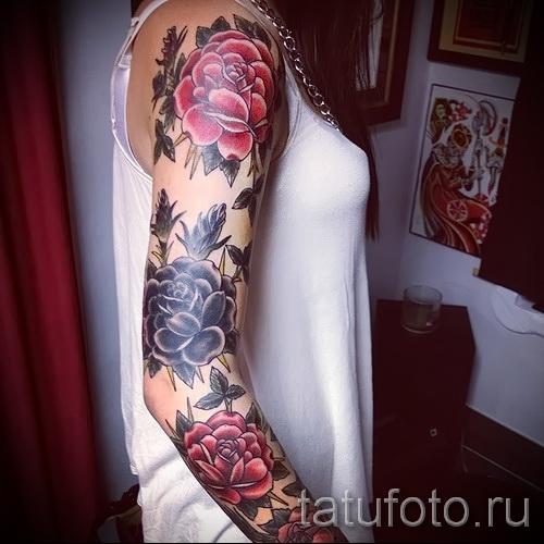 тату рукав розы - фото вариант от 15122015 № 10
