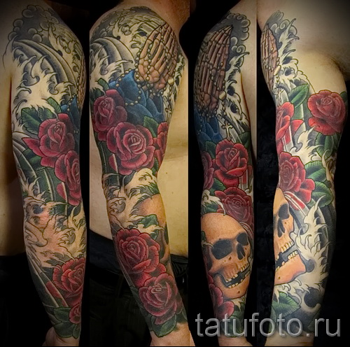 тату рукав розы - фото вариант от 15122015 № 12
