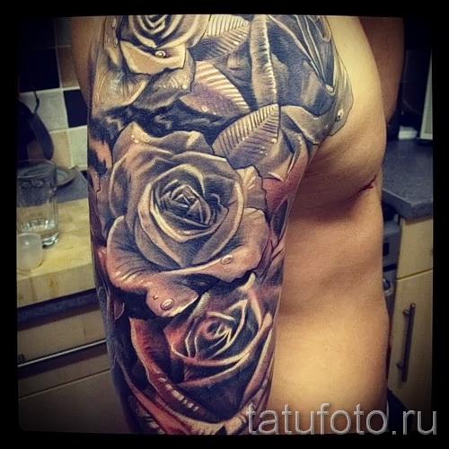 тату рукав розы - фото вариант от 15122015 № 4