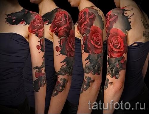тату рукав розы - фото вариант от 15122015 № 9