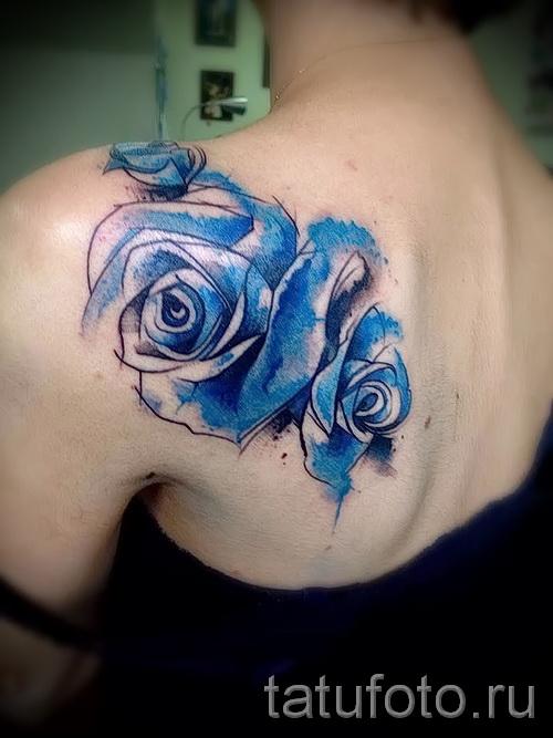 тату синие розы - фото вариант от 15122015 № 13