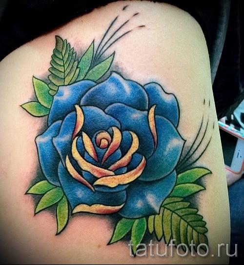 тату синие розы - фото вариант от 15122015 № 14