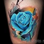 тату синие розы - фото вариант от 15122015 № 3