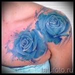 тату синие розы - фото вариант от 15122015 № 4