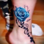 тату синие розы - фото вариант от 15122015 № 7