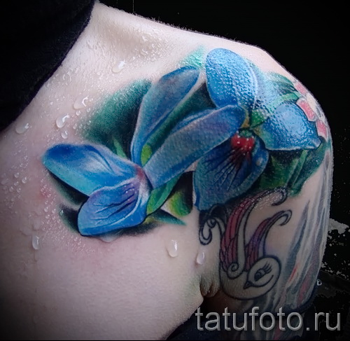 тату синие цветы - фото вариант от 21122015 № 3